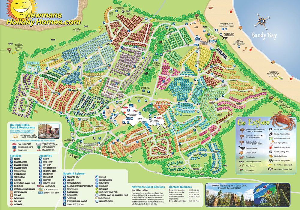 Map Of Devon Devon Cliffs Map   Map of Devon Cliffs Holiday Park Map Of Devon